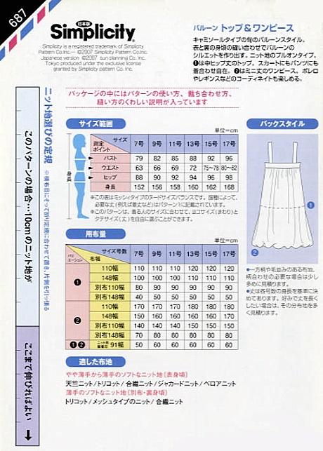 バルーントップ&ワンピース (ニット地専用) (687)裏表紙