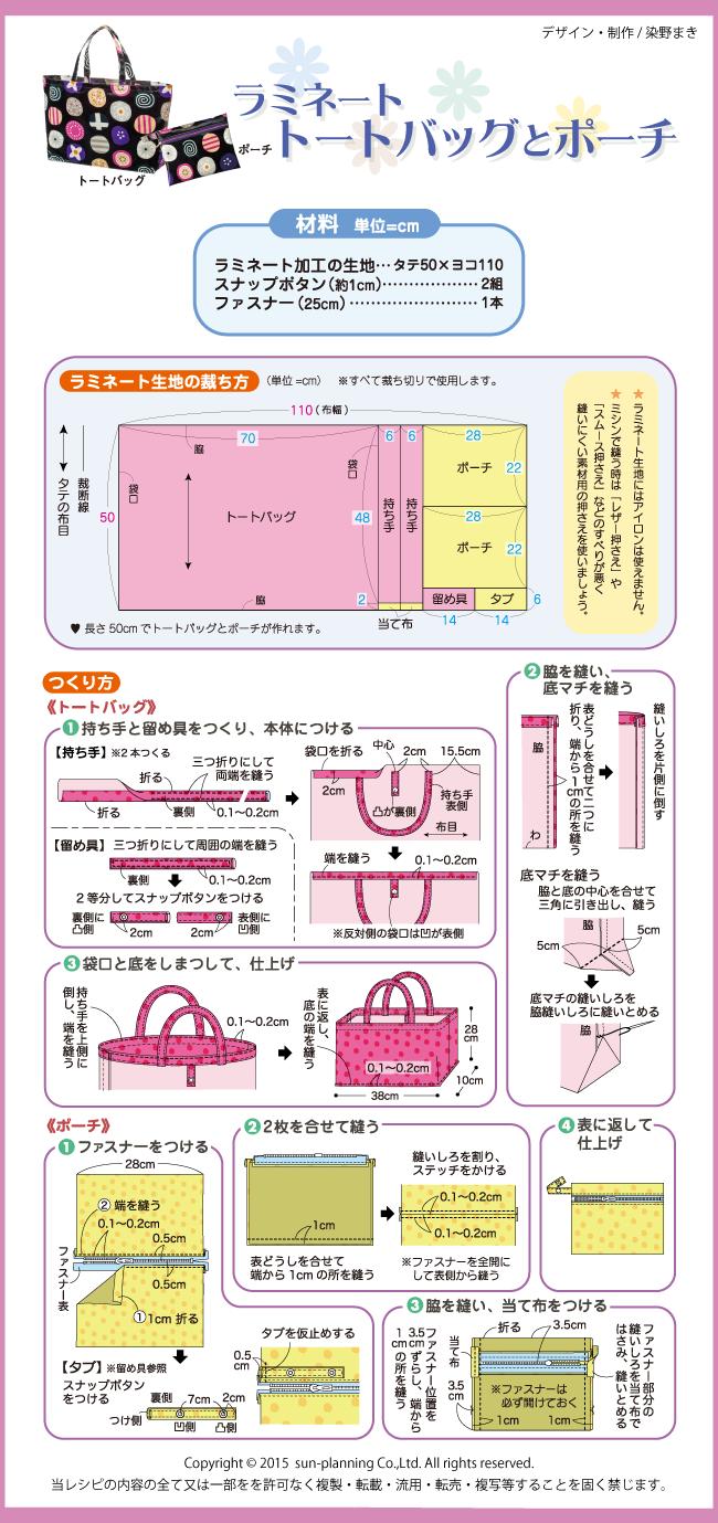 ラミネートトートバッグとポーチの作り方(レシピ)